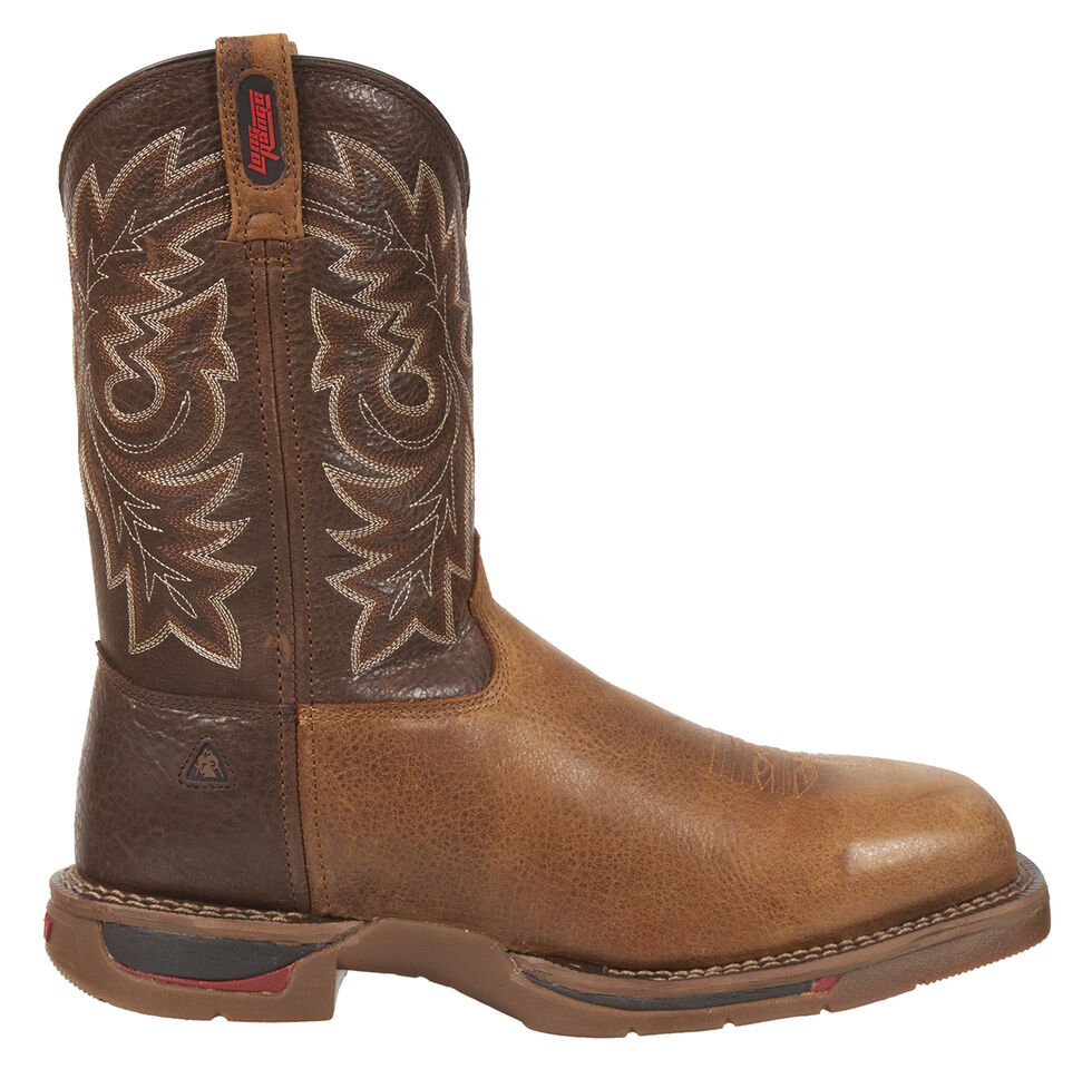 Rocky Long Range Western Work Boots - Safety Toe, Saddle Brown, hi-res