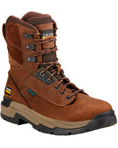 "Ariat Mastergrip Waterproof Insulated 8"" Lace-Up Work Boots - Composite Toe , Brown, hi-res"