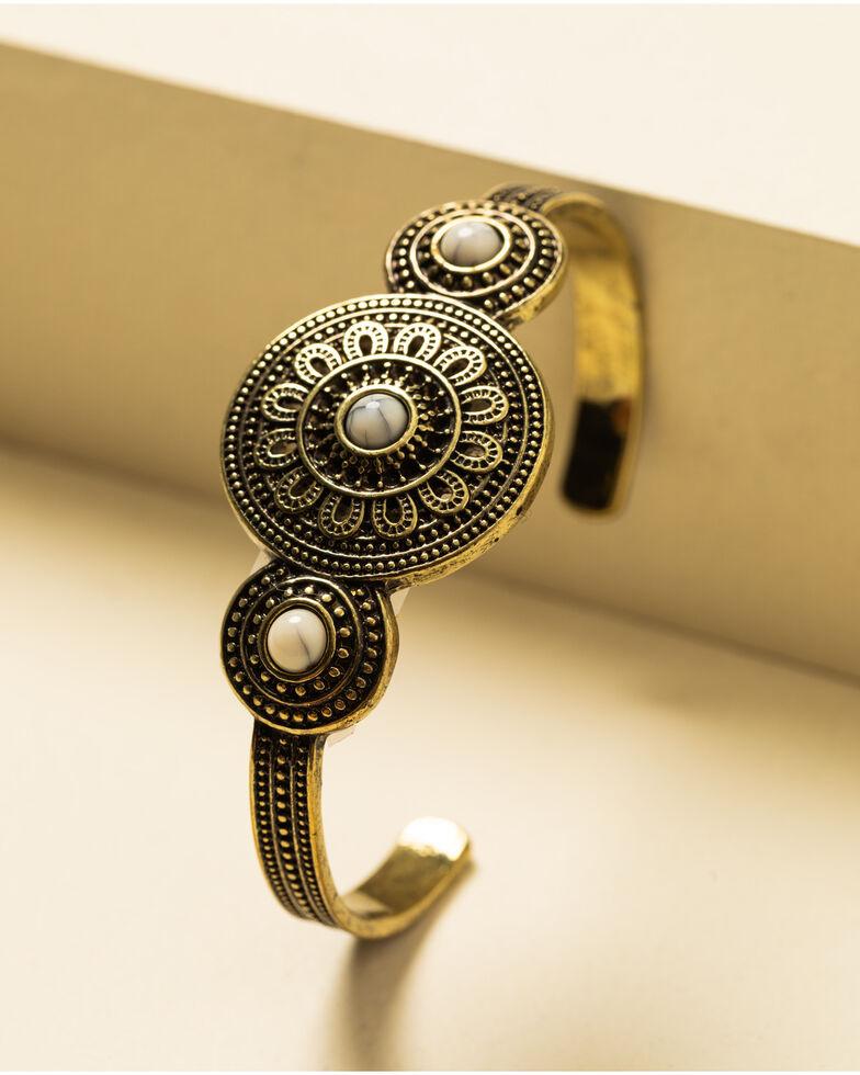 Shyanne Women's Crescent Sunset Concho Cuff Bracelet, Bronze, hi-res