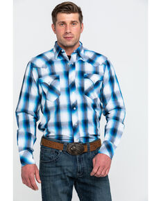 Roper Men's Blue Large Plaid Snap Long Sleeve Western Shirt , Blue, hi-res