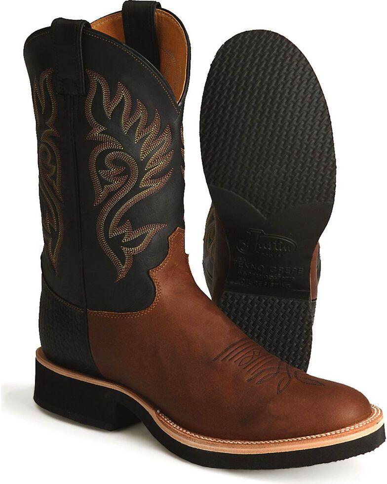Justin Men's Paluxy Brown Tekno Crepe Cowboy Boots - Round Toe, Coffee, hi-res