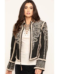 Double D Ranch Women's Black Plaza Charro Jacket, Black, hi-res
