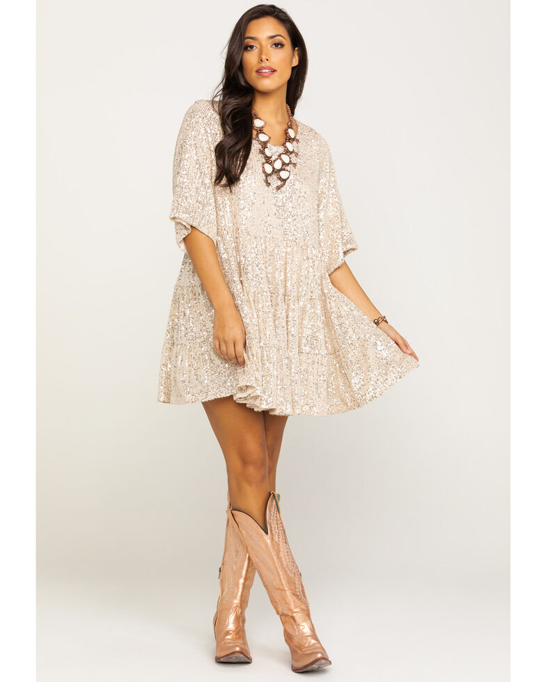 By Together Women's Silver & Gold Babydoll Sequin Dress, Gold, hi-res