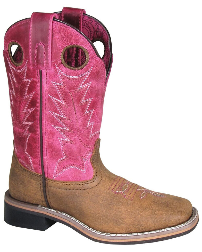 Smoky Mountain Girls' Tracie Western Boots - Square Toe, Brown/pink, hi-res
