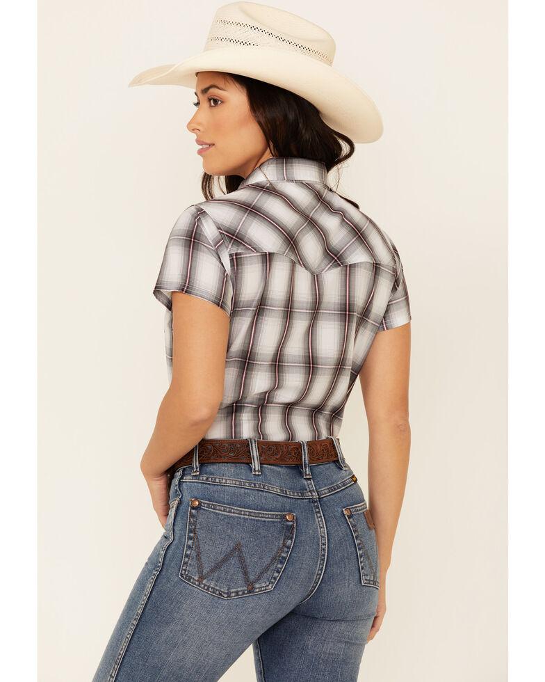 Ely Walker Women's Black Plaid Short Sleeve Snap Western Shirt , Black/white, hi-res