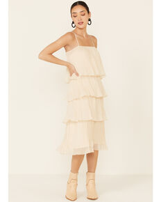 By Together Women's Ivy Tiered Pleated Dress, Ivory, hi-res