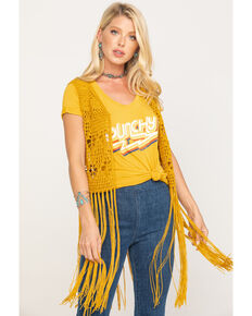 Rock & Roll Cowgirl Women's Mustard Crochet Long Fringe Vest, Dark Yellow, hi-res