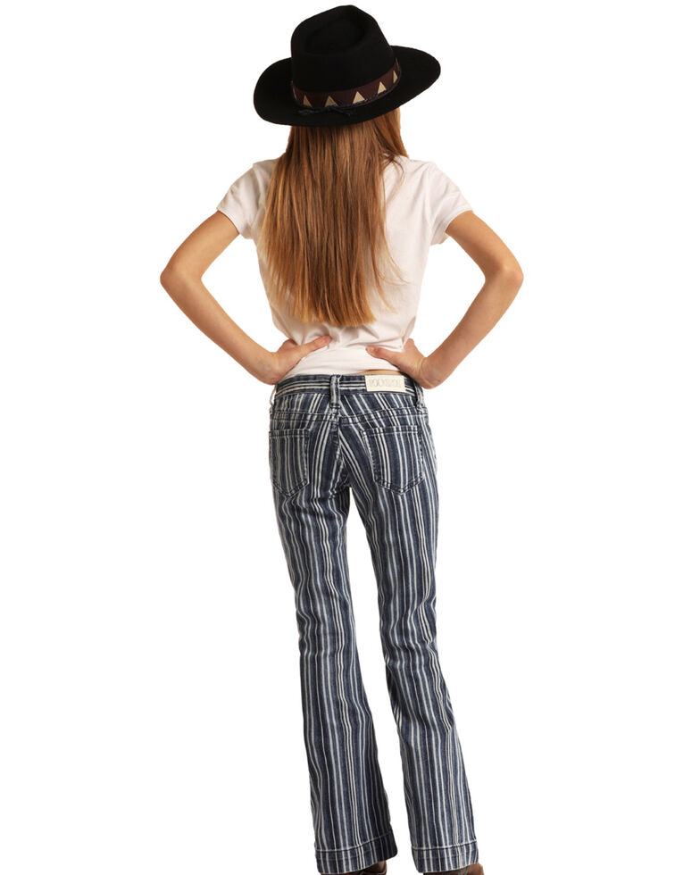 Rock & Roll Denim Girls' Multi Stripe Trousers, Multi, hi-res