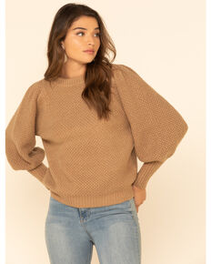 Elan Women's Latte Textured Puff Sleeve Sweater, Tan, hi-res