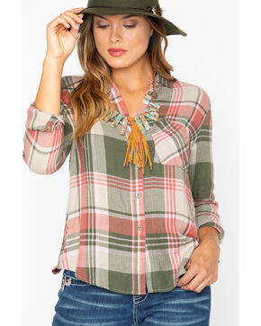 Shyanne Women's Button Up Plaid Flannel Shirt , Olive, hi-res
