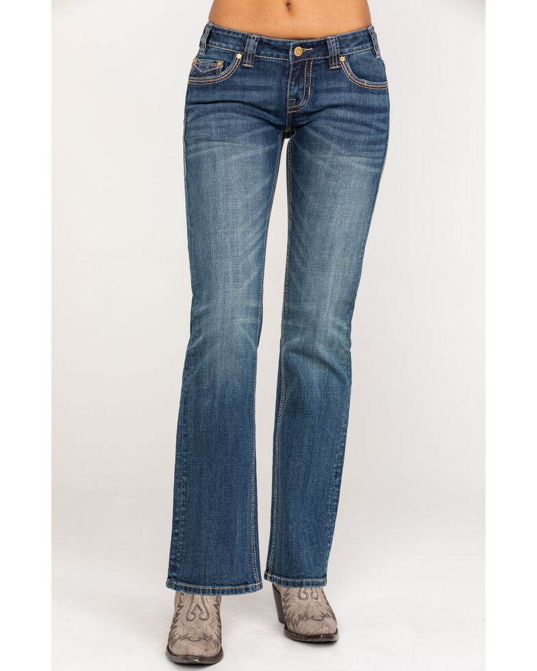 Rock & Roll Cowgirl Women's Extra Stretch Riding Bootcut Jeans, Blue, hi-res