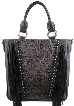Montana West Trinity Ranch Black Tooled Design Concealed Handgun Collection Handbag, Black, hi-res