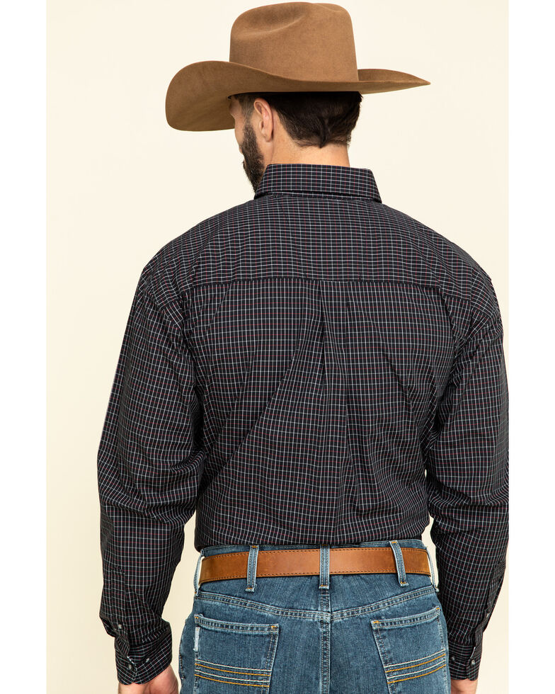 George Strait By Wrangler Men's Black Small Plaid Long Sleeve Western Shirt - Big , Black, hi-res