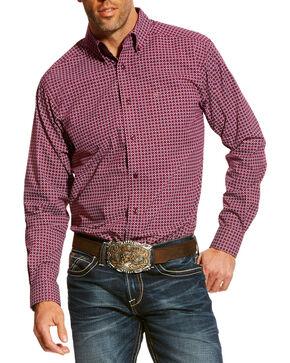 Ariat Men's Purple Ashford Print Shirt , Purple, hi-res