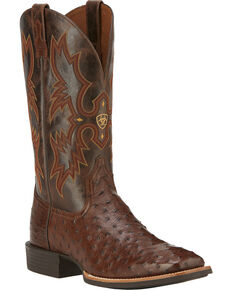 Ariat Quantum Classic Full Quill Ostrich Cowboy Boots - Square Toe, Antique Tobacco, hi-res