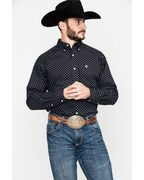 Ariat Men's Elwood Geo Print Long Sleeve Western Shirt - Big & Tall , Black, hi-res