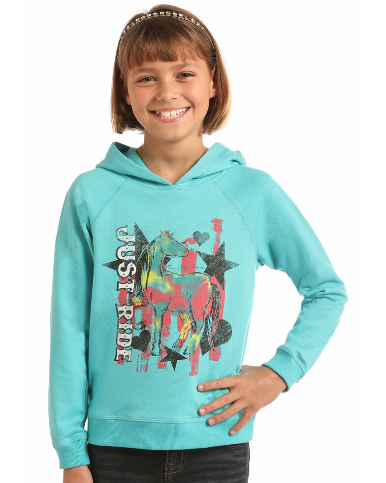 Rock & Roll Cowgirl Girls' Just Ride Graphic Hoodie, Aqua, hi-res