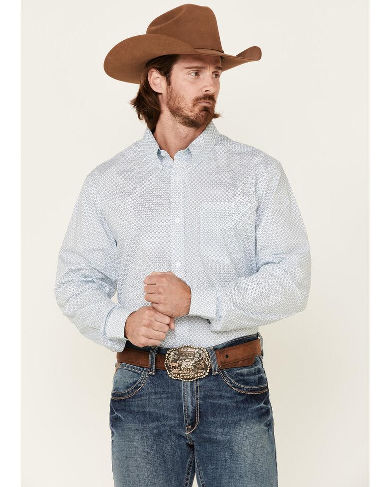 Cody James Core Men's Vintage Geo Print Long Sleeve Button-Down Western Shirt - Tall, Blue, hi-res