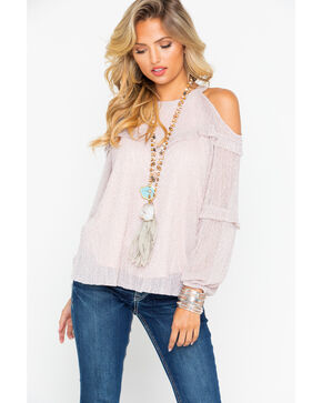 Miss Me Women's Cold Shoulder Ruffle Layered Long Sleeve Top , Light Pink, hi-res