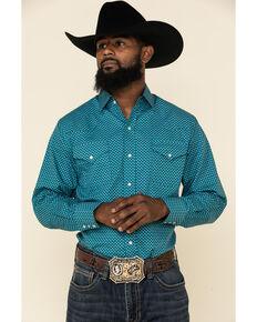 Ely Walker Men's Turquoise Mini Geo Print Long Sleeve Western Shirt , Burgundy, hi-res