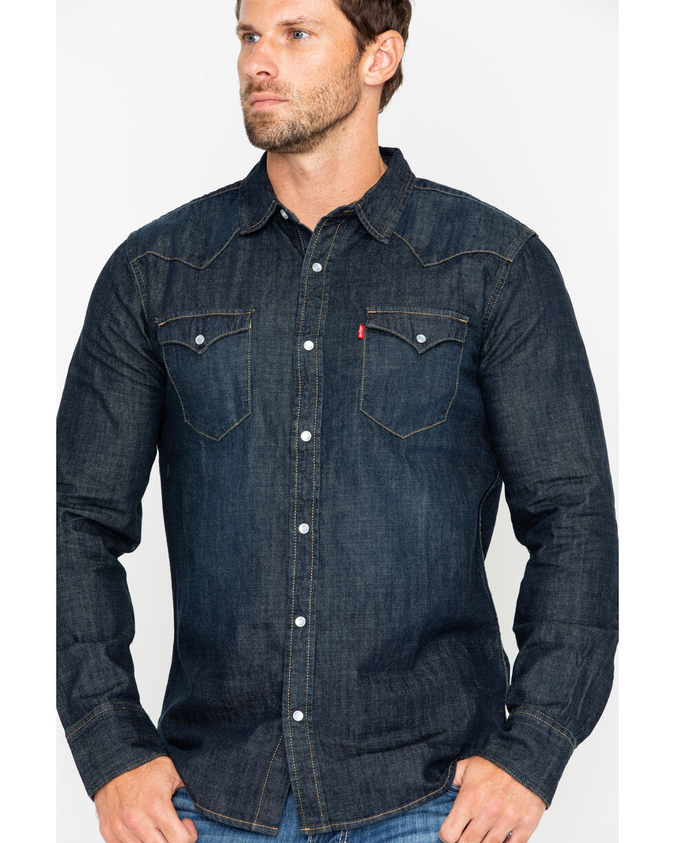 Levi's Men's Boulder Denim Long Sleeve Western Shirt , Black, hi-res