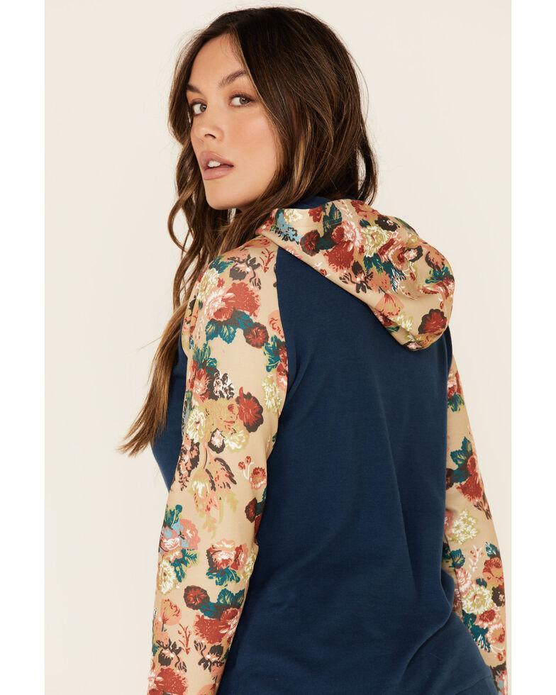 Ampersand Avenue Women's Navy Floral Contrast Sleeve Hoodie , Navy, hi-res