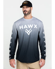 Hawx® Men's Grey Camo Moto Chest Logo Performance Long Sleeve Work T-Shirt - Tall , Dark Grey, hi-res