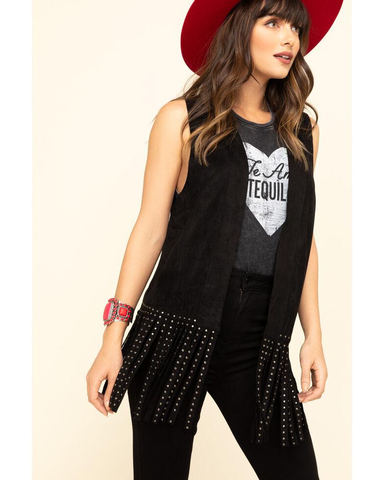 Vocal Women's Studded Fringe Vest , Black, hi-res