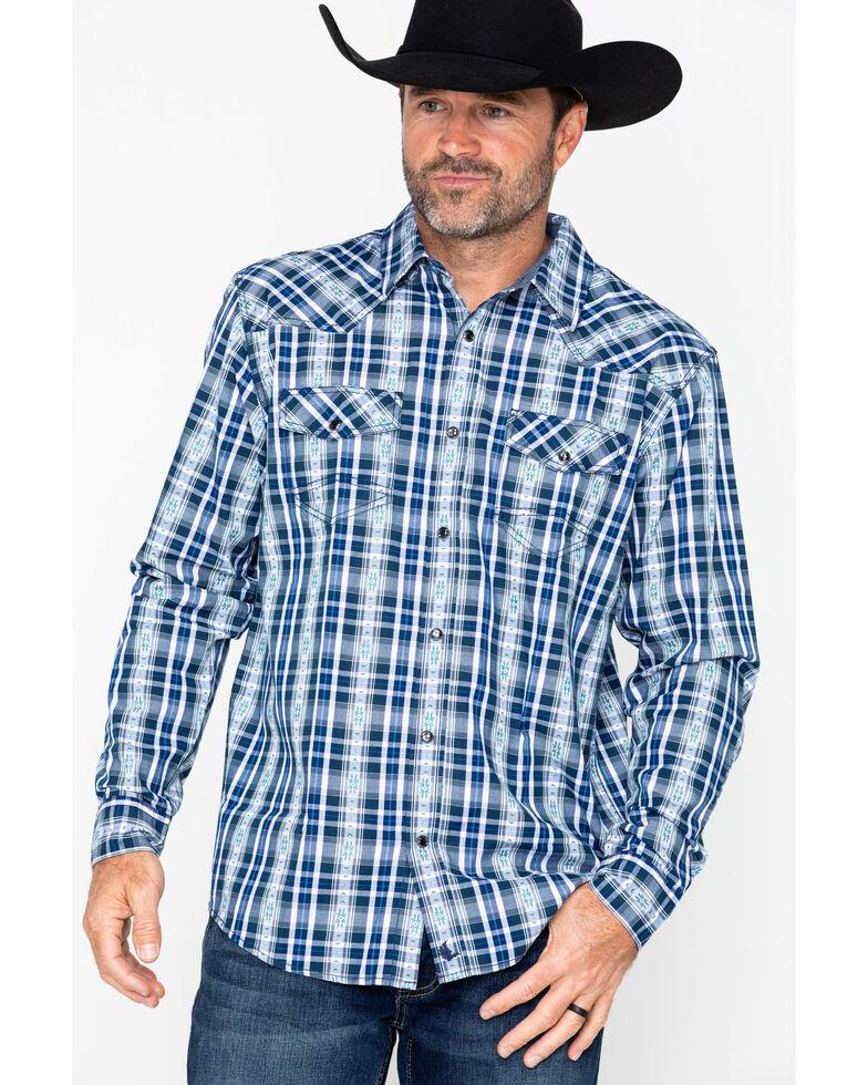 Cody James Men's Fogerty Plaid Long Sleeve Western Shirt , Navy, hi-res