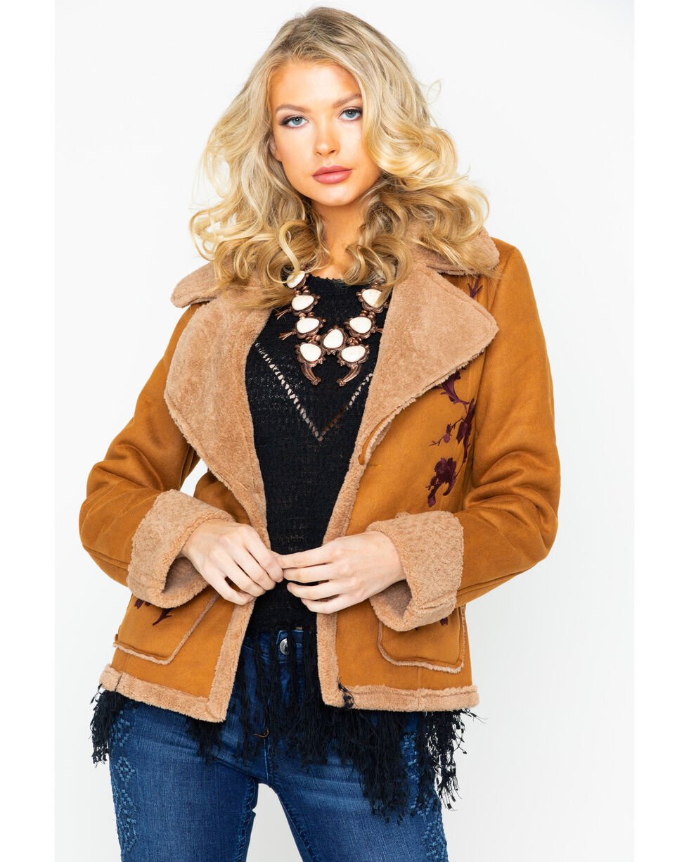 Miss Me Women's Solid Embroidered Pocket Sherpa Lined Jacket , Brown, hi-res