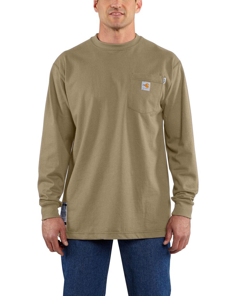 Carhartt Men's Flame-Resistant Force Long Sleeve Work T-Shirt - Tall , Beige/khaki, hi-res