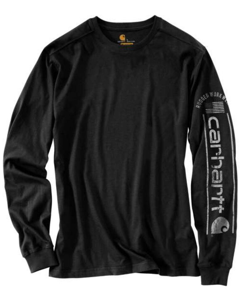 Carhartt Men's Black Midweight Logo Graphic Long Sleeve Work T-Shirt - Tall, Black, hi-res