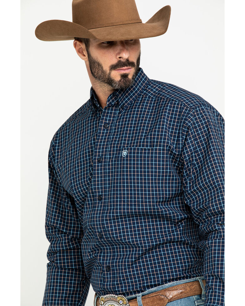 Ariat Men's Lemore Small Plaid Long Sleeve Western Shirt , Black, hi-res