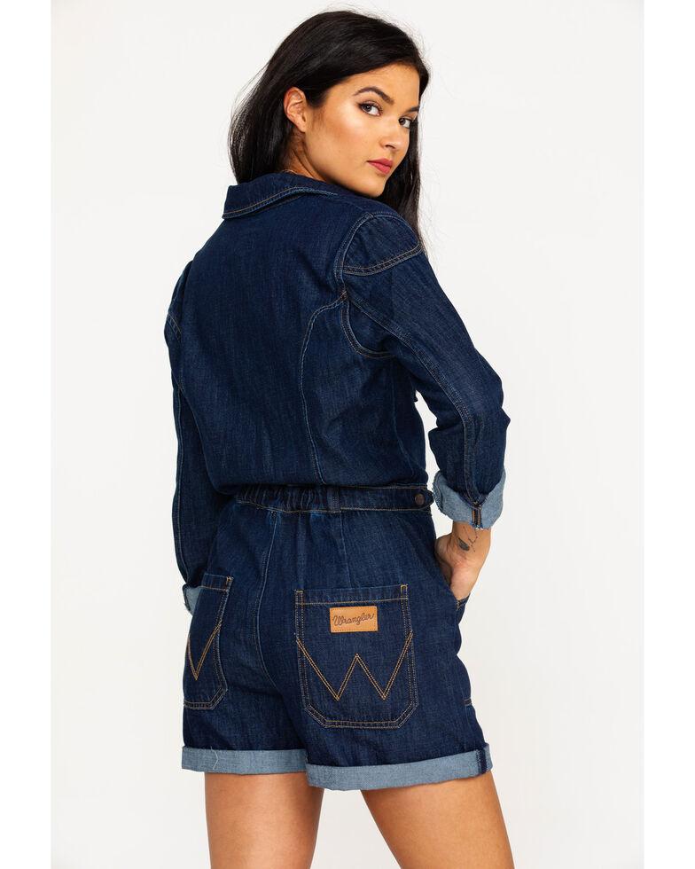 Wrangler Women's Modern Denim Playsuit Long Sleeve Romper , Blue, hi-res