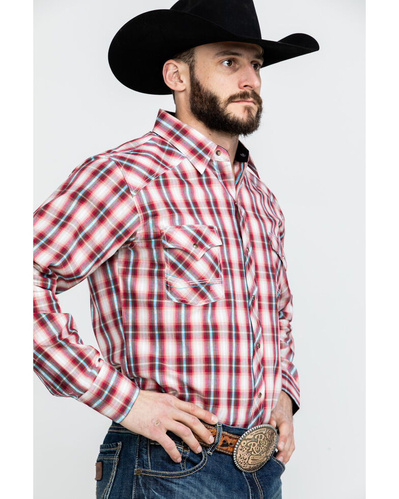 Ely Cattleman Men's Red Textured Dobby Plaid Long Sleeve Western Shirt, Red, hi-res