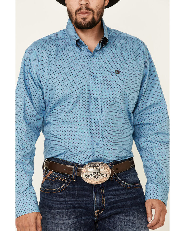 Cinch Men's Blue Polka Dot Print Long Sleeve Button-Down Western Shirt , Blue, hi-res