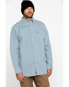 Ariat Men's FR Fleetwood Geo Print Long Sleeve Work Shirt - Tall , Grey, hi-res