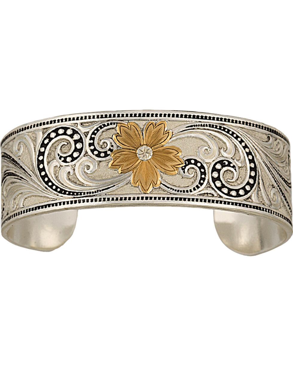 Montana Silversmiths Two-Tone Western Lace Whisper Garden Cuff Bracelet, Multi, hi-res