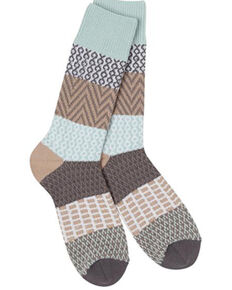 World's Softest Women's Weekend Gallery Crew Socks, Lt Brown, hi-res