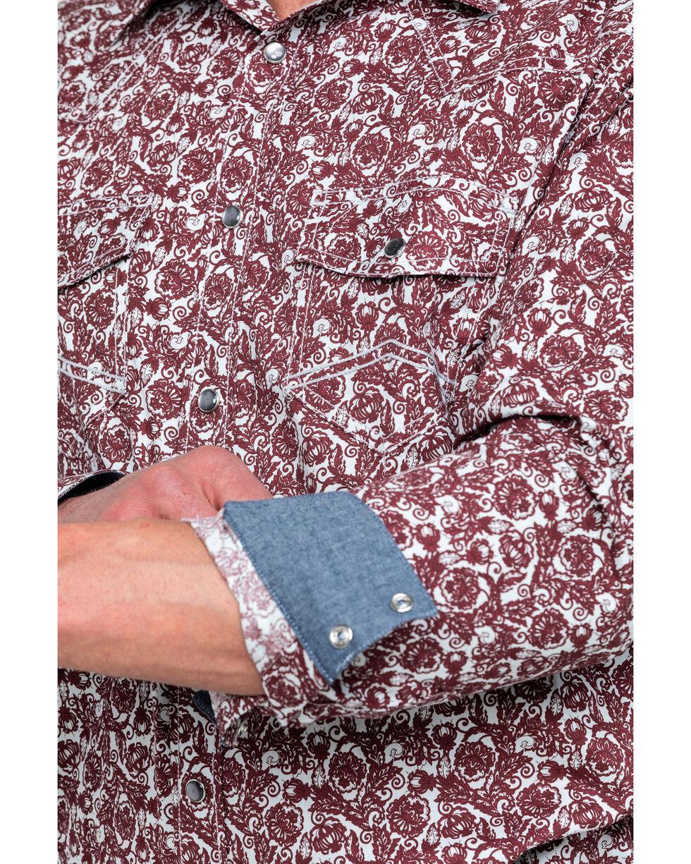 Cody James Men's Oxdale Plaid Long Sleeve Western Shirt , Burgundy, hi-res