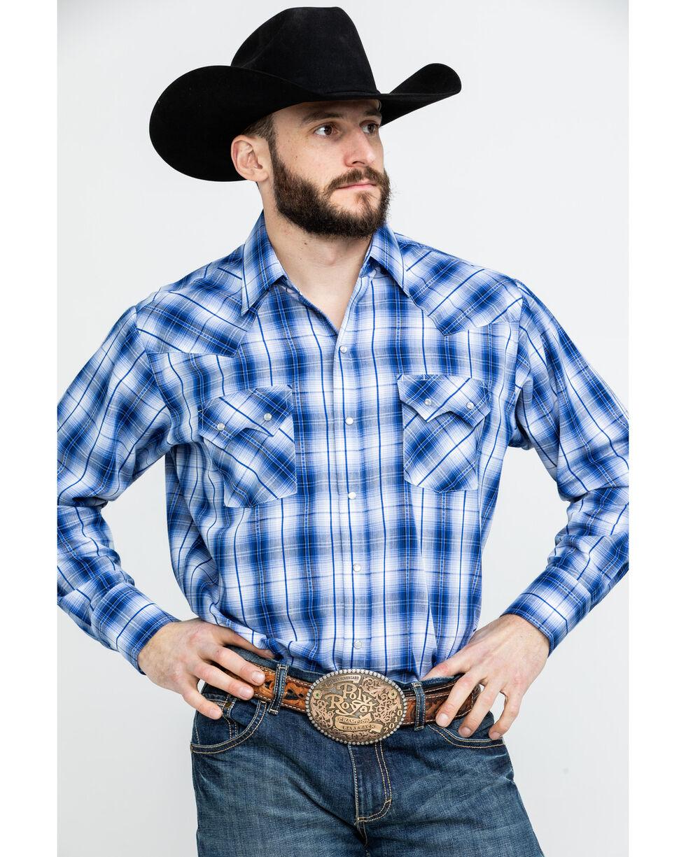 Ely Cattleman Men's Textured Dobby Plaid Long Sleeve Western Shirt - Tall , Blue, hi-res