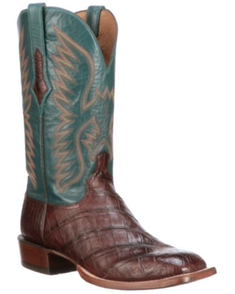 Lucchese Men's Exotic Caiman Skin Western Boots - Wide Square Toe, Brown, hi-res