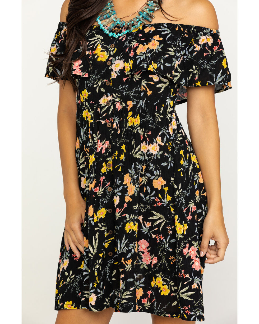 Patrons of Peace Women's Black Floral Print Off The Shoulder Dress, Black, hi-res
