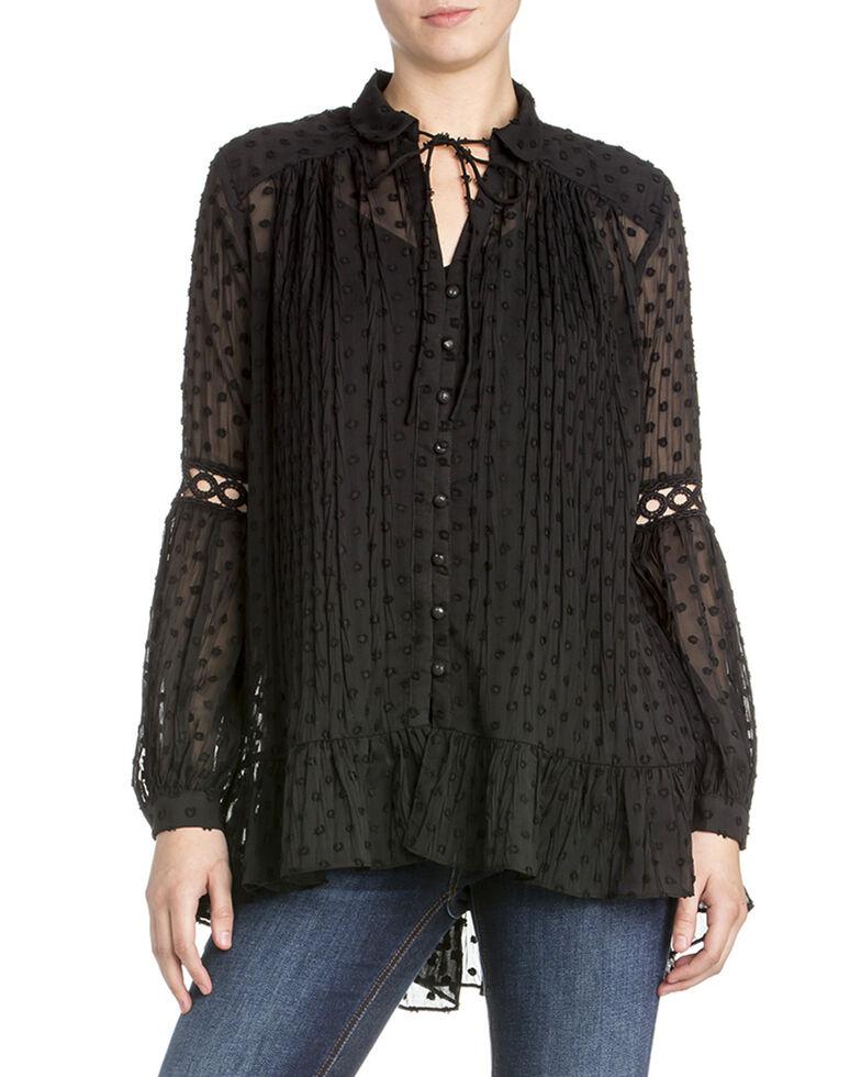 Miss Me Women's Sheer Jacquard Dot Top , Black, hi-res