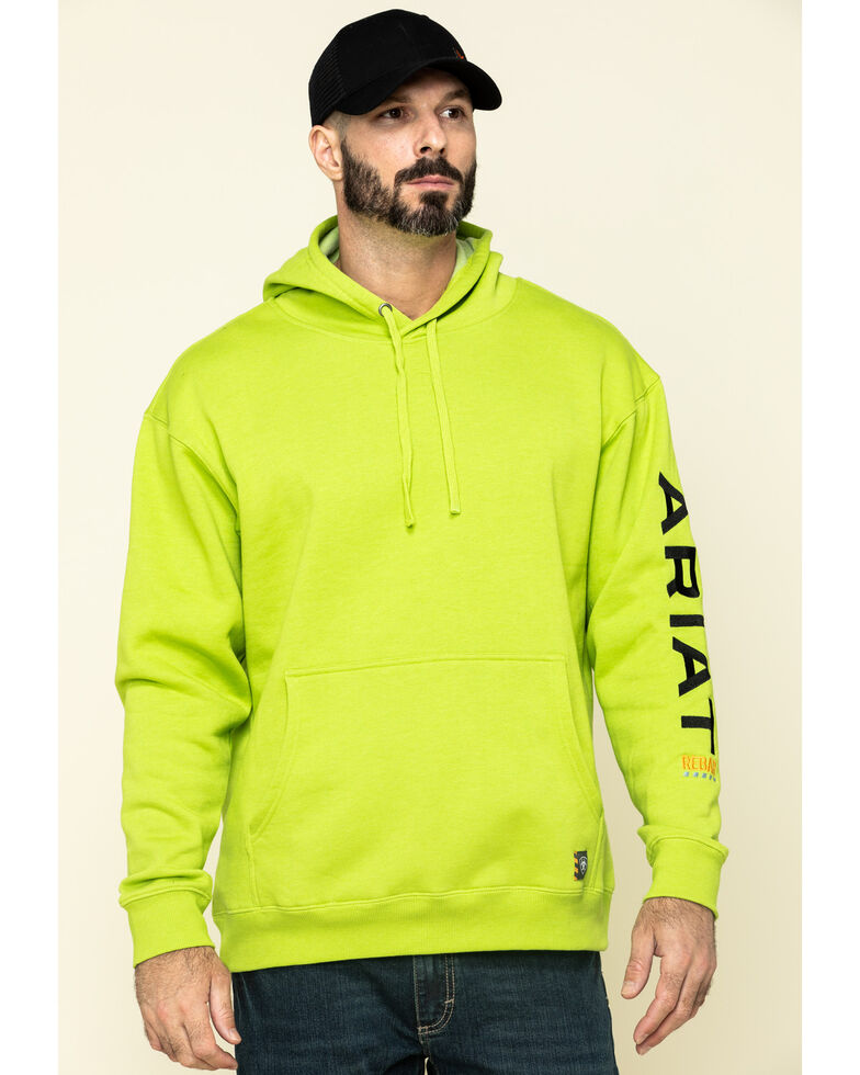 Ariat Men's Lime Heather Rebar Graphic Hooded Work Sweatshirt - Big , Green, hi-res