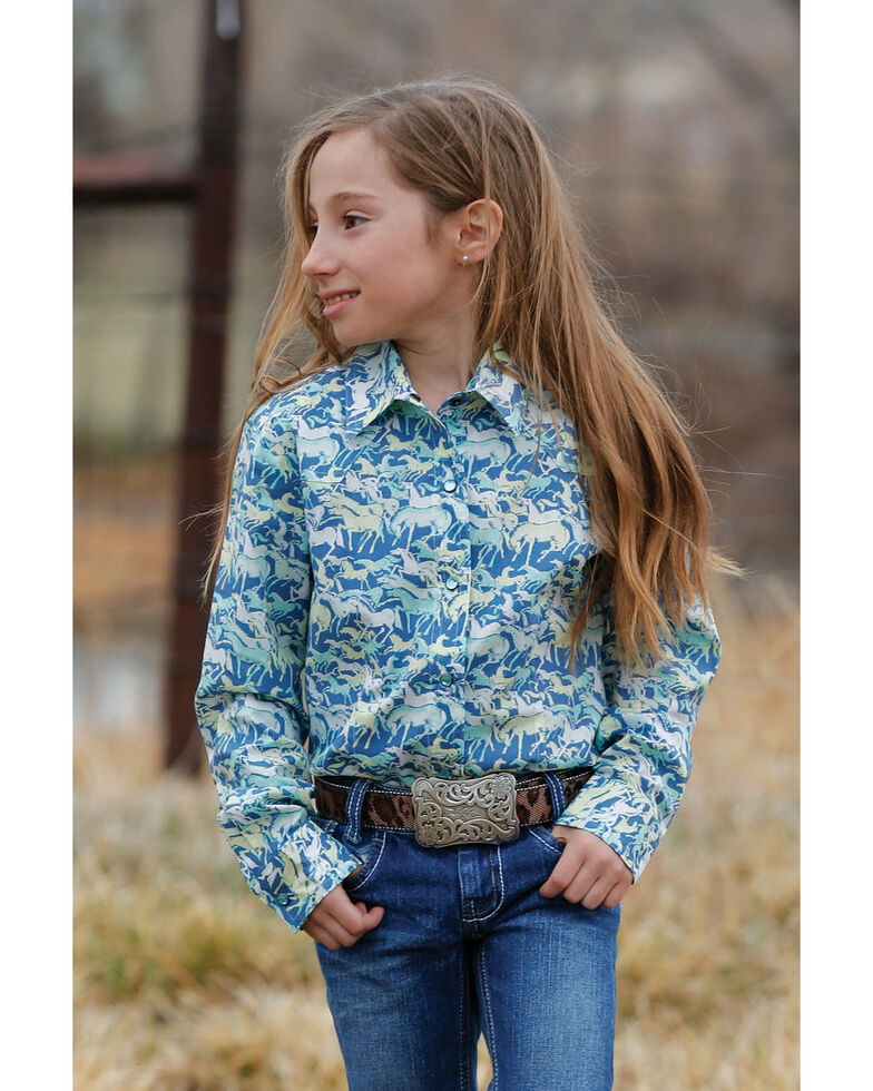 Cruel Girl Girls' Blue Horse Print Long Sleeve Western Shirt, Multi, hi-res