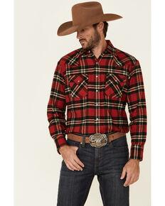Ely Walker Men's Brawny Flannel Long Sleeve Western Shirt - Tall , Red, hi-res