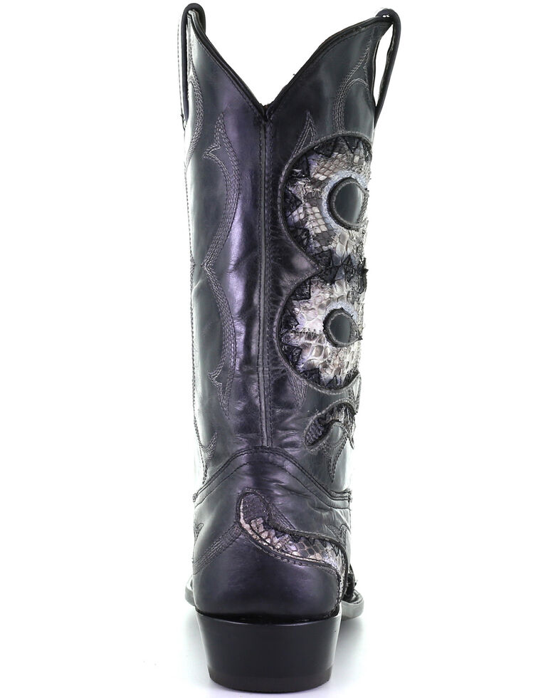Corral Men's Black Python Inlay Western Boots - Snip Toe, Black, hi-res