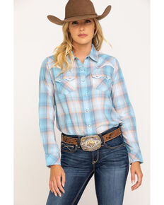 Ariat Women's September Sky R.E.A.L. Western Sky Long Sleeve Shirt, Blue, hi-res