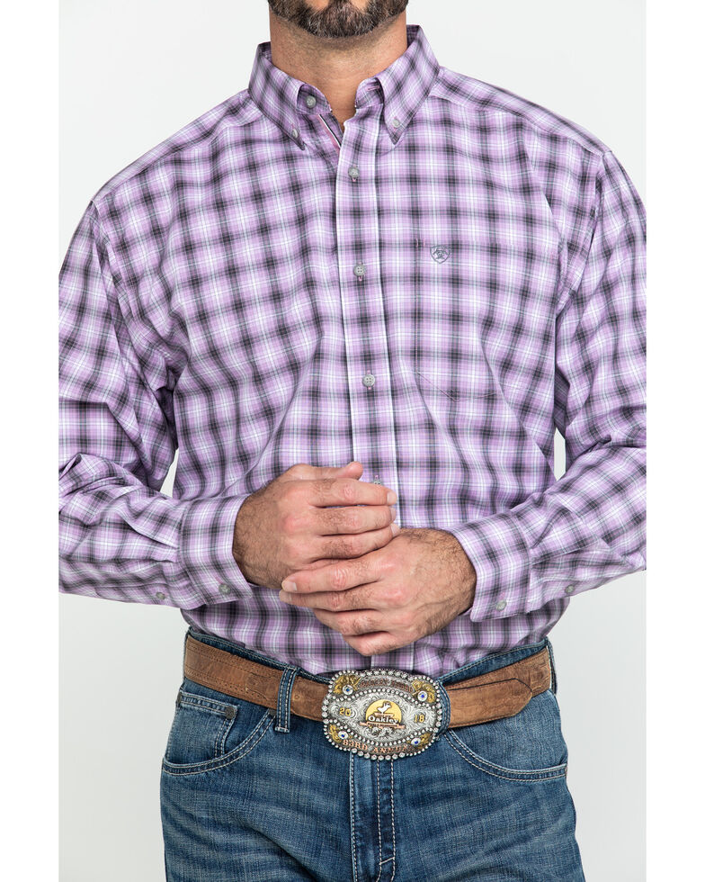 Ariat Men's Frankfort Small Plaid Long Sleeve Western Shirt - Tall , Purple, hi-res